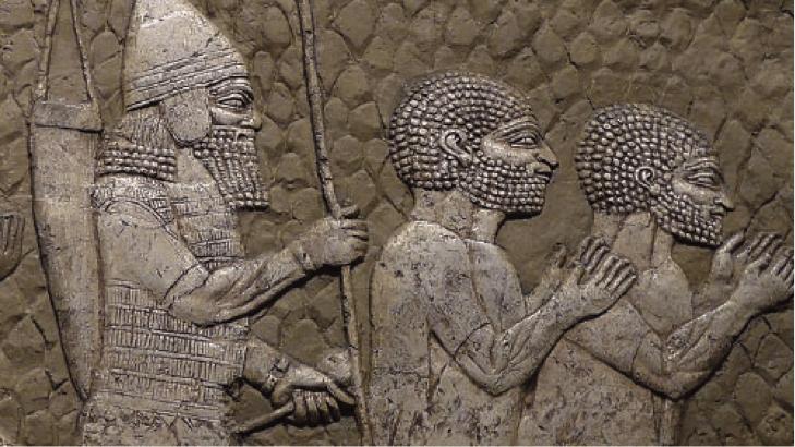 Assyrischer Soldat mit Kriegsgefangenen