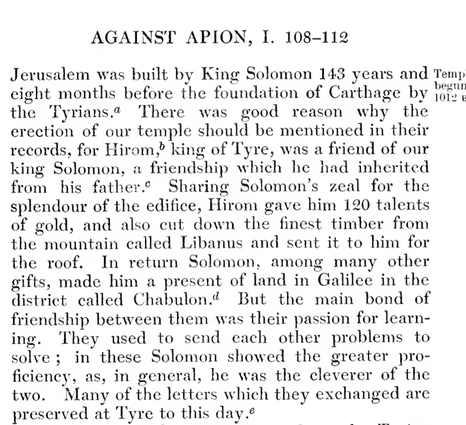 Flavius Josephus highlights the ancient affinity between Phoenicians and Jews