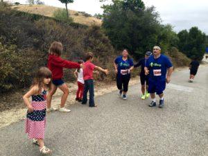David is nearing the finish of the Laguna Hills Half Marathon in May, 2015.