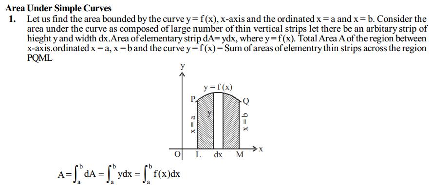 Application of Integrals Formulas for Class 12 Q1