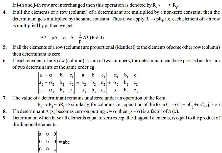 Determinants Formulas for Class 12 Q5