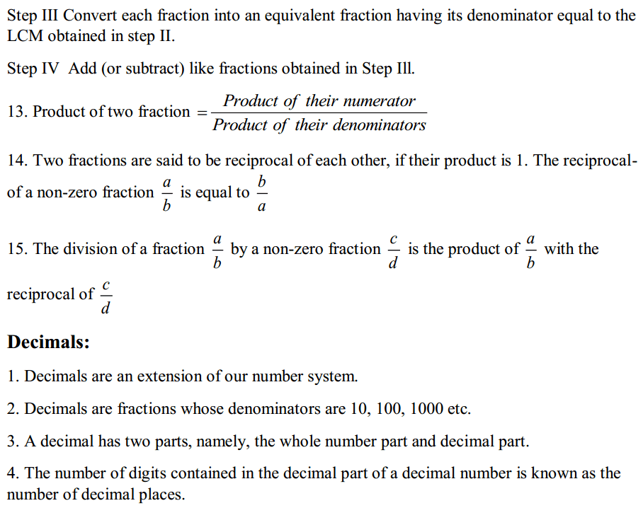 Fractions and Decimals Formulas for Class 7 Q3
