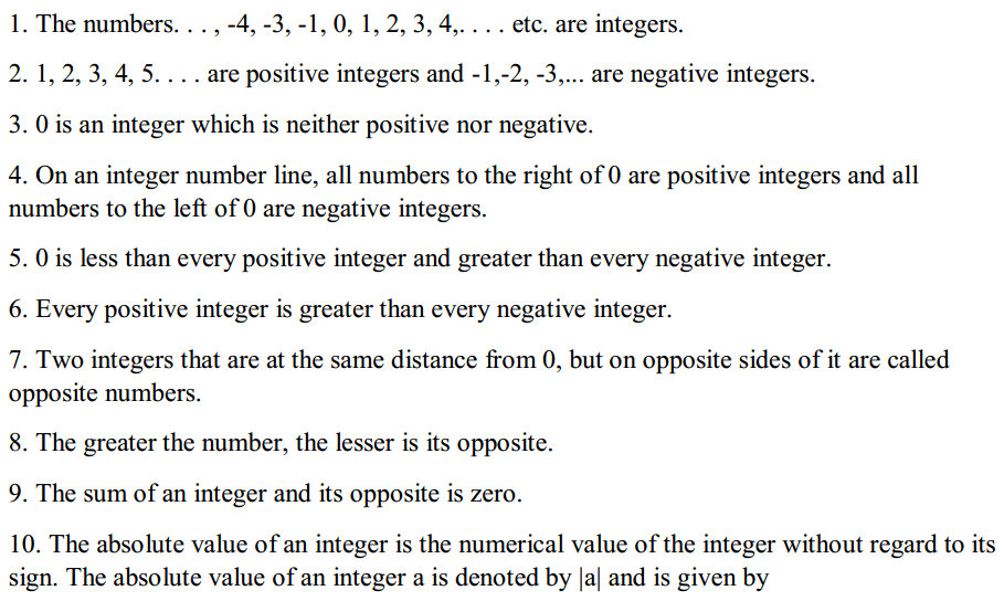 Integers Formulas Formulas for Class 6 Q1