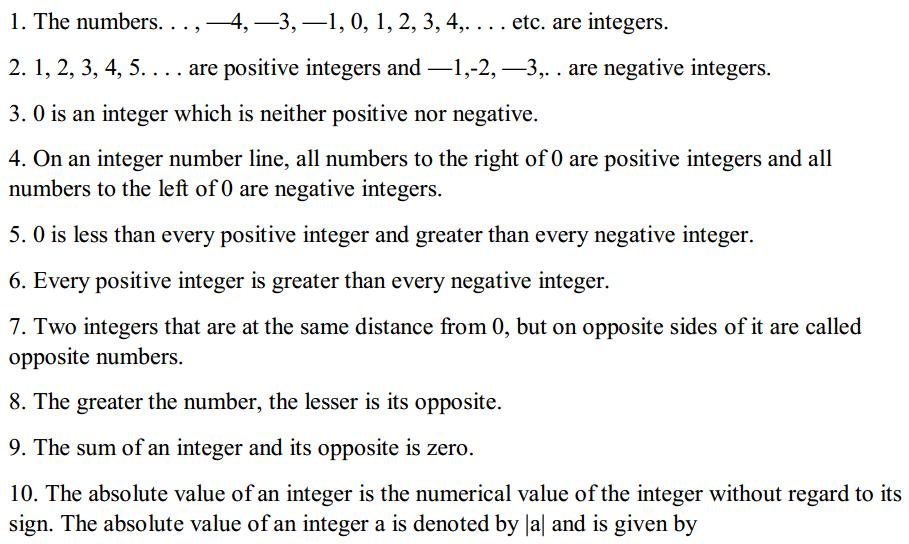 Integers Formulas for Class 7 Q1