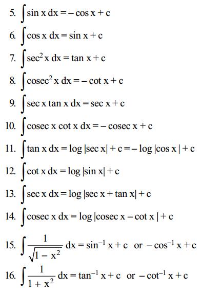 Integrals Formulas for Class 12 Q10
