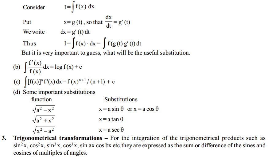 Integrals Formulas for Class 12 Q2