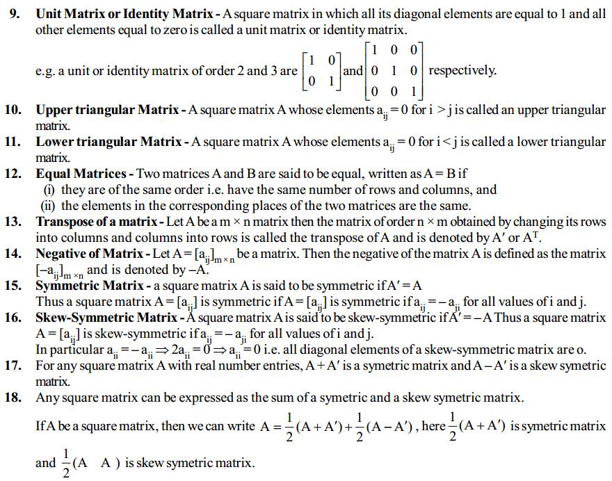 Matrices Formulas for Class 12 Q3