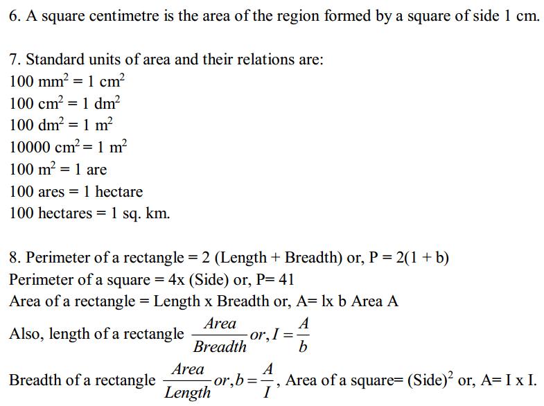 Mensuration Formulas Formulas for Class 6 Q2