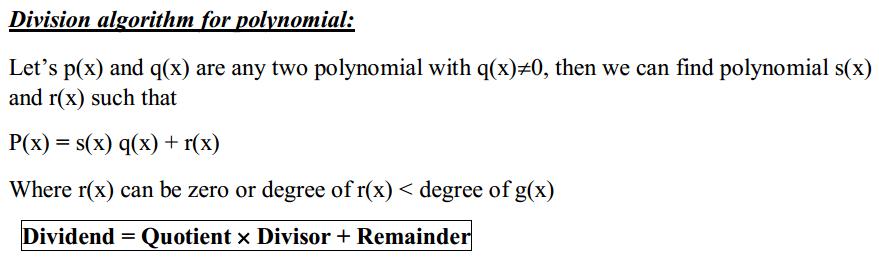 Polynomials Formulas for Class 10 Q9