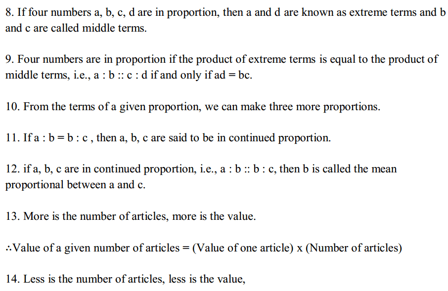 Ratio and Proportion Formulas Formulas for Class 6 Q2