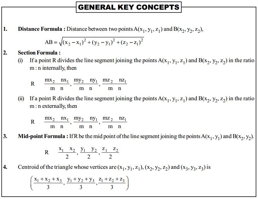 Three Dimensional Geometry Formulas for Class 12 Q1