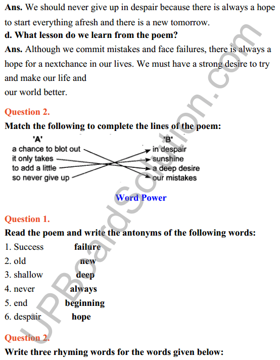 UP Board Class 8 English Solutions Rainbow Chapter 1 Another Chance 2