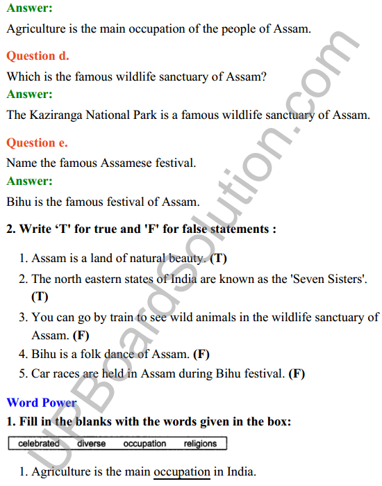 UP Board Class 8 English Solutions Rainbow Chapter 6 Awesome Assam 3