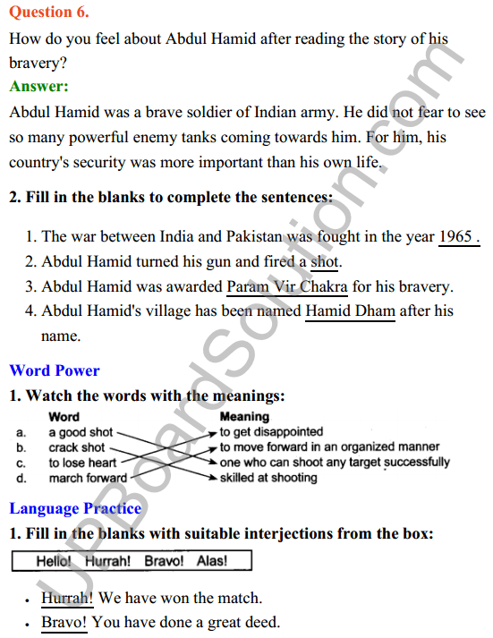 UP Board Class 8 English Solutions Rainbow Chapter 7 Veer Abdul Hamid 4