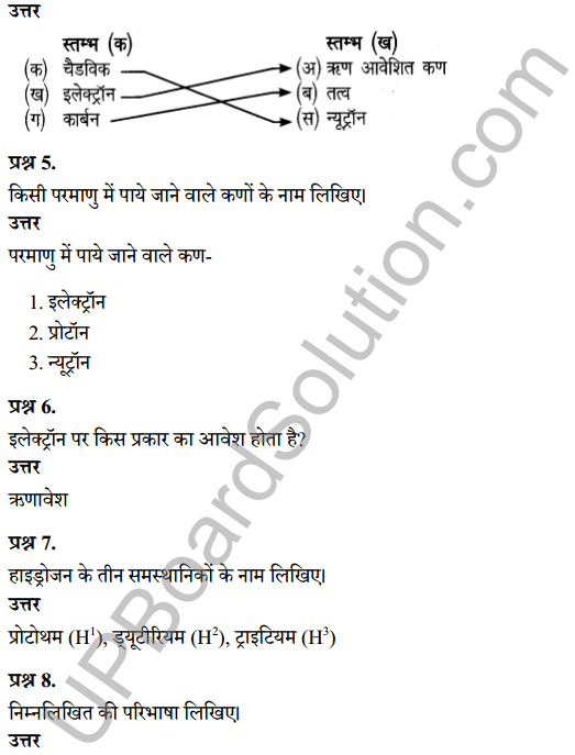 UP Board Class 8 Science Solutions Chapter 3परमाणु की संरचना 3