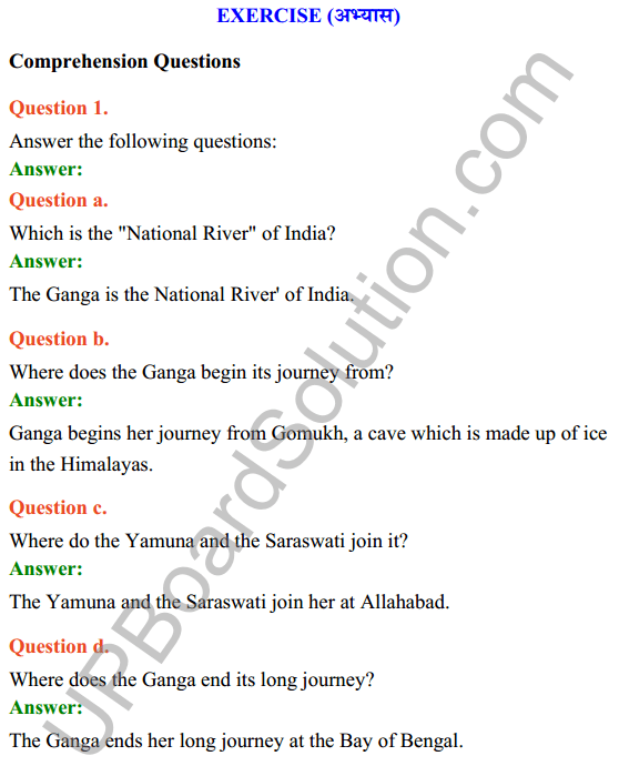 UP Board Class 7 English Solutions Rainbow Chapter 2The Holy Ganga 2