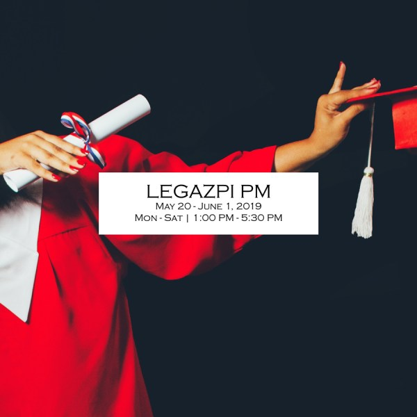 Legazpi UPCAT Review Plus 2019 PM schedule