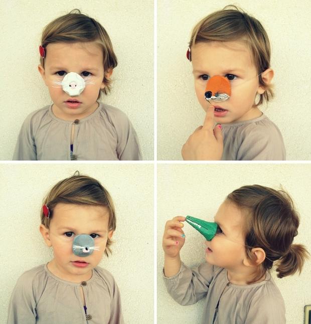 niños pascua artesanía de máscaras animales cartón de huevos nariz niño diversión creativa