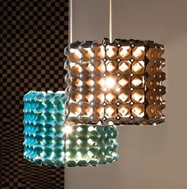 Pascua ideas del arte cartón de huevos reutilizan casera colgantes efectos de luz de la lámpara