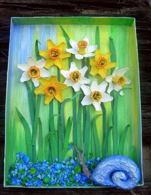 Pascua ideas del arte cartón de huevos reutilizan niños pintura flores del narciso caracol verde