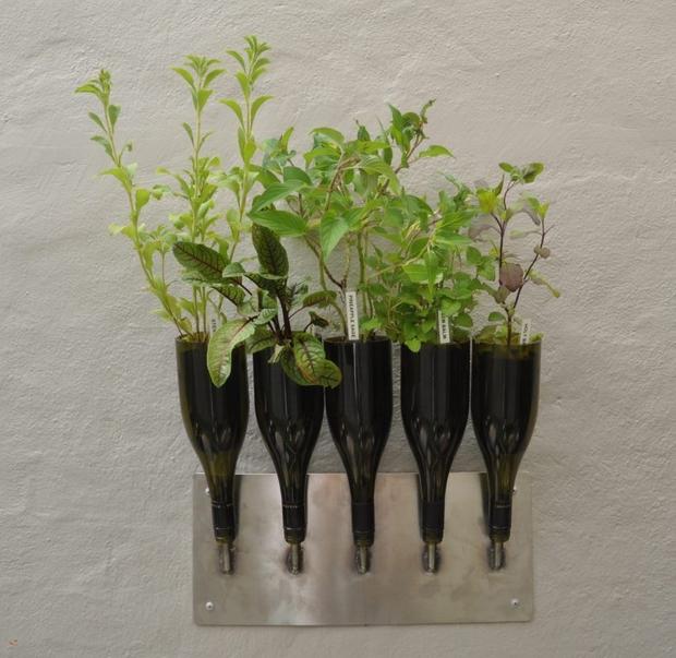 reciclar botellas de vino de la pared plantador de bricolaje florero creativa