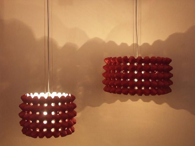 Ideas reciclados lámpara de cartón de huevo reutilizar la luz roja increíble proyecto