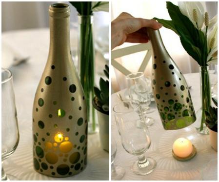 Botellas de la pintura vino reutilizados sostenedor de vela de bricolaje Ideas de decoración de la mesa upcycling