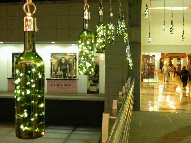 botellas de vidrio reutilización creativa decoración colgante de la lámpara de la cadena ligera de reciclado