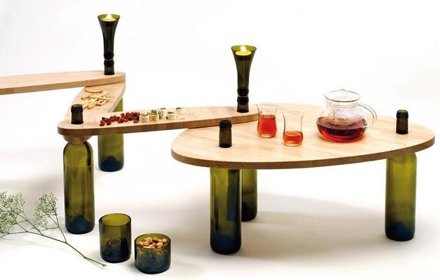 botellas de vidrio mesa de reutilización creativa titular de la vela upcycled idea inspiradora