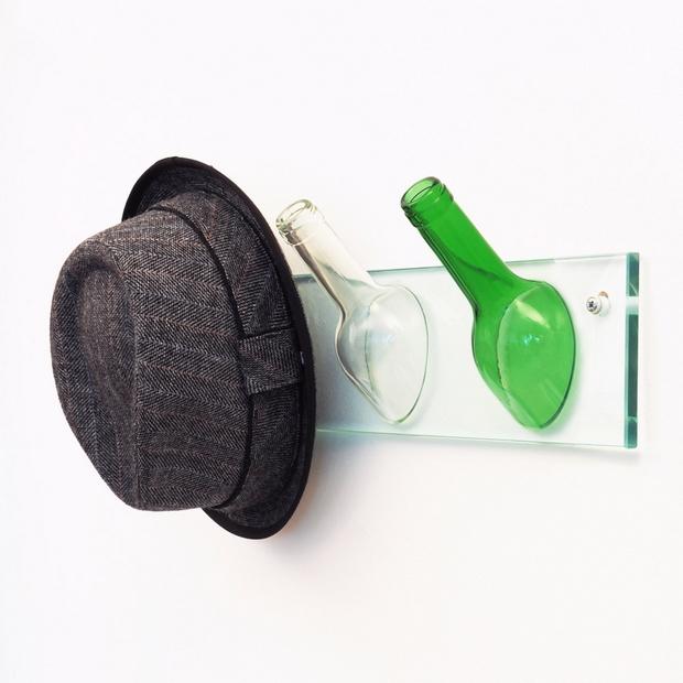botella de vino upcycled percha el sombrero Cuello decoración del hogar pasillo