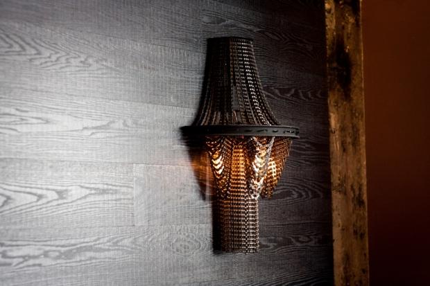 cadena de la bicicleta upcycled idea arte lámpara de pared