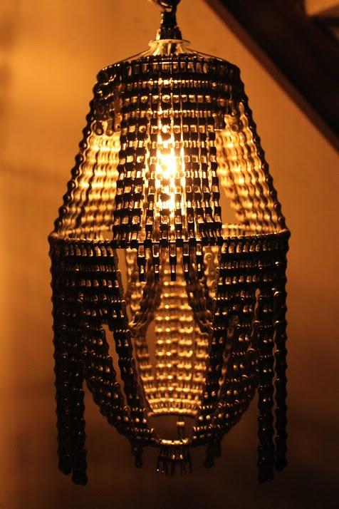 arañas de cadena de la bicicleta de la lámpara creativa Upcycling
