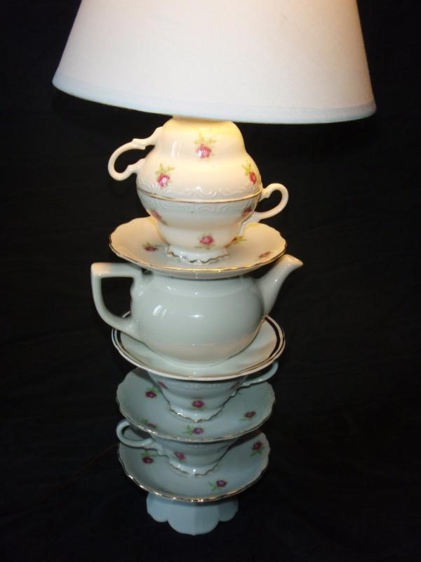 tazas de té de porcelana antigua de reutilización teteras blanco casa lámpara DIY Ideas