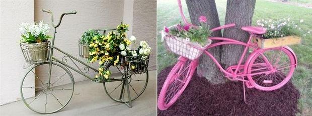 reutilizados en bicicleta utilizada como decoración del jardín de flores