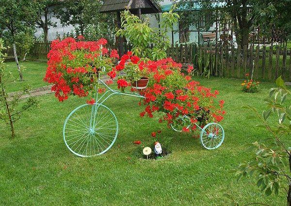 bicicletas upcycling decoración única patio trasero de la bicicleta maceta de flores