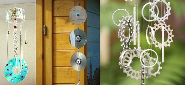 upcycling cds viejos en carillón de viento jardín manualidades bricolaje ideas de decoración