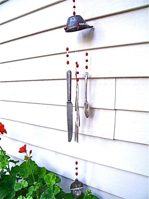 artesanías carillón de viento de la cuchara cuchillo viejo tenedor ideas de decoración creativa de jardín
