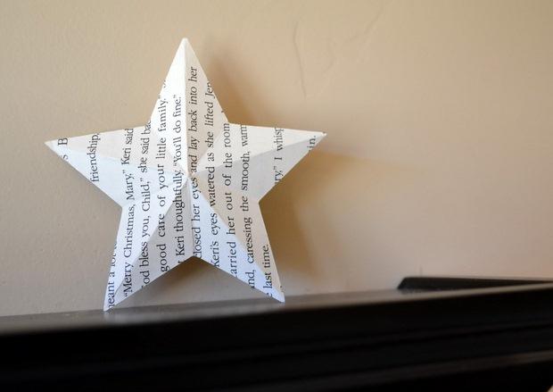 página del libro ornamentos de Navidad reciclado estrella de papel blanco ideas de decoración