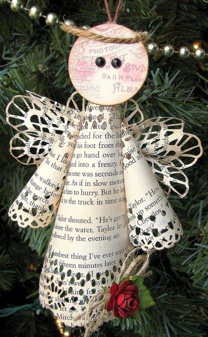 libro de papel adornos de navidad artes de DIY nieve blanca ideas de decoración
