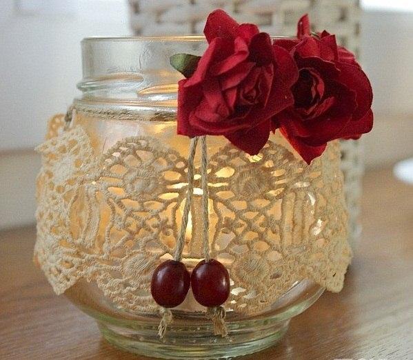tarro de cristal artesanía de Navidad velas rosas rojas ideas de decoración