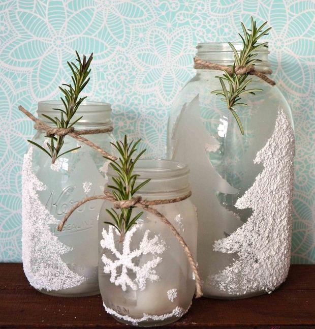 tarro de cristal artesanía de Navidad ideas de decoración cuerda romero decorativa nieve artificial bricolaje reciclados