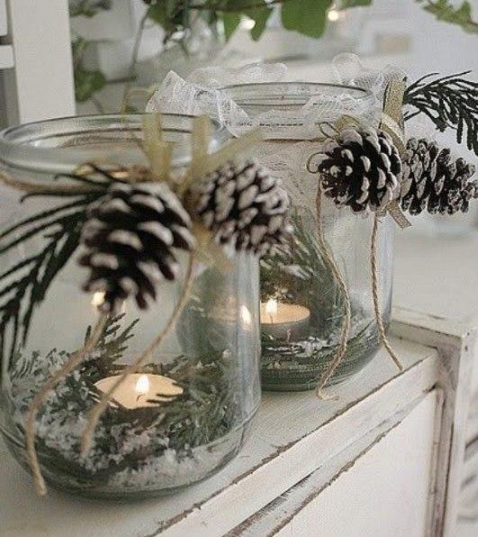 tarro de cristal de Navidad piñas artesanía luminarias decorativas reutilizados cuerda upcycled ideas de decoración