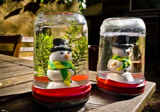 los tarros de albañil globos de nieve muñeco de nieve ideas decoración al aire libre de bricolaje reciclados