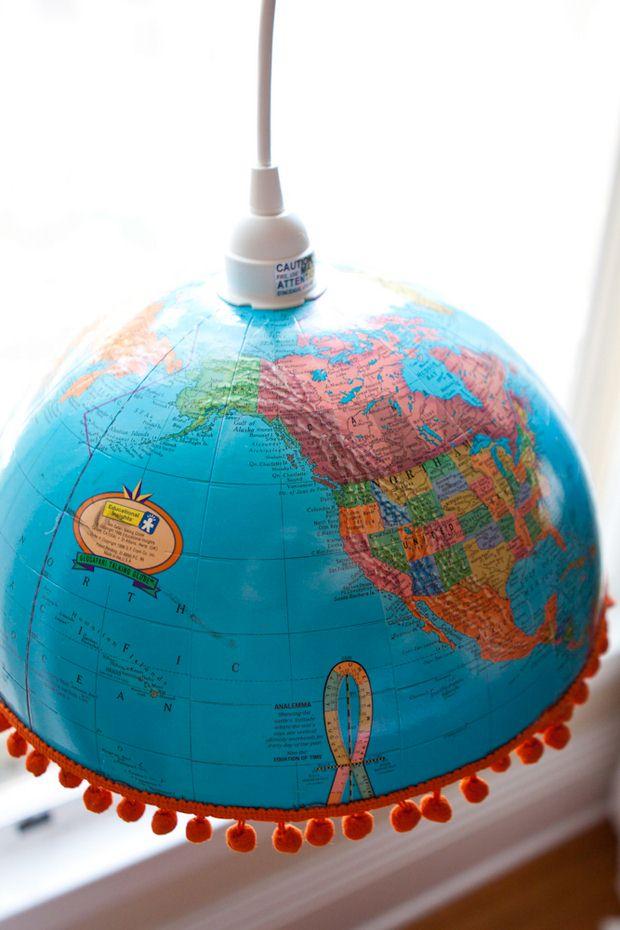 reutilizados upcycled globo del mundo creativo luces colgantes de bricolaje decoración