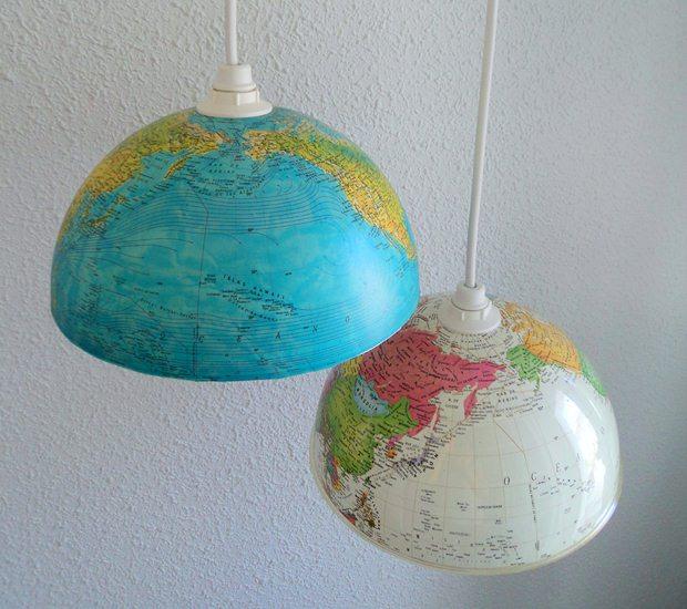 upcycled mundo del viejo mundo bricolaje decoración de luces colgantes de interior