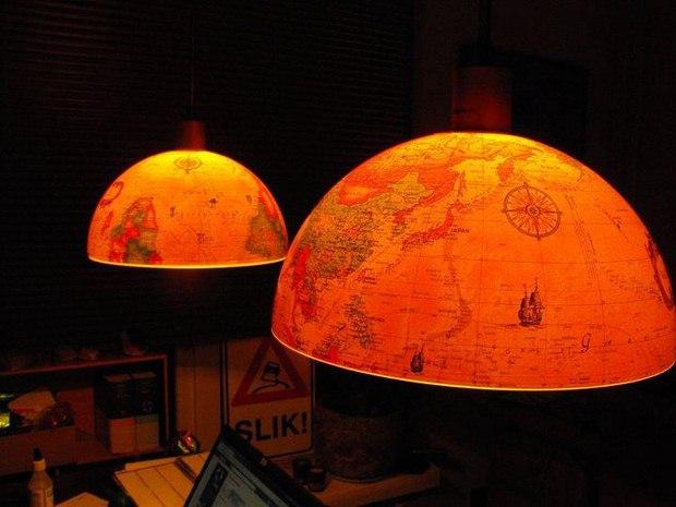 upcycled viejo mundo globo dos mitades luces colgantes decoración increíble