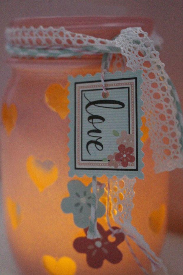 Día de San Valentín artesanías sostenedor de vela de la pintura de color rosa flores de papel cinta de ganchillo
