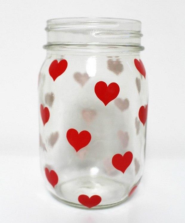 San Valentín artesanías día decoraciones corazones rojos pegatinas portacandelitas