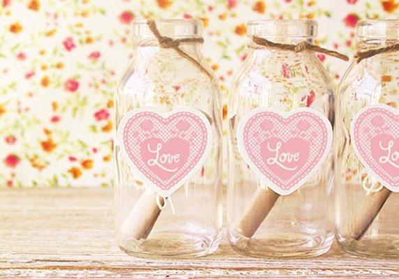 día de San Valentín del corazón imprime la artesanía regalo idea mensaje tarro de cristal