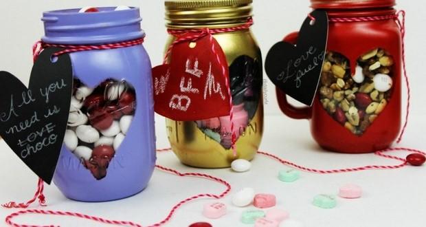 pintado valentines-day-artesanía-regalo-dulces-candy-aspersión-Mason-frascos-regalo-etiqueta